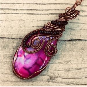 Dragon vein Agate wire wrapped pendant necklace